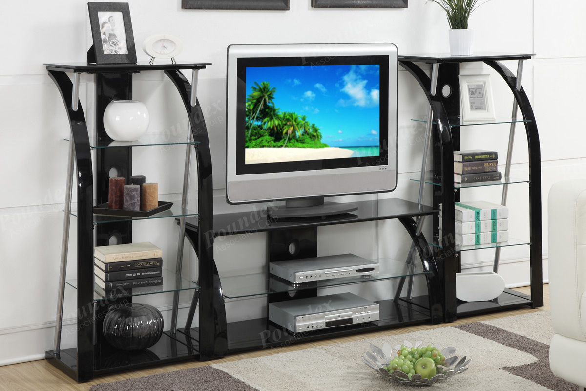 Entertainment Centers F4521set Its Tempered Glass Shelving It Supported By A Black Frame Of Masterful Curves And Lines Grabbing More Attention Than The