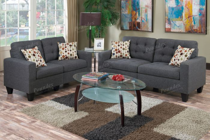 Each Piece Is Upholstered In A Linen Like Cushioned Fabric With Asymmetric  Tufting And Light Accent Stitching. Includes: 1 Sofa 1 Loveseat Dimensions:  ...